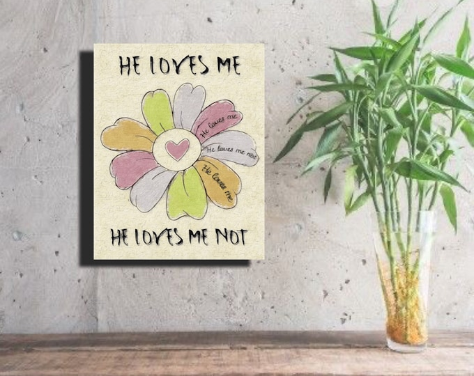 He Loves Me Not pink Heart Daisy ~ Digital Download
