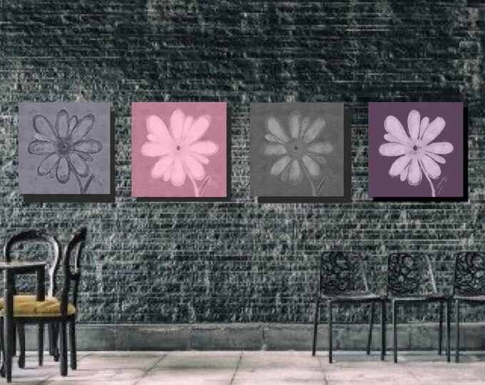 "Set of 4 Wall designs ""Flowers of Many Colors"" 2 greys, eggplant and a shade of Pink.  Digital Download"