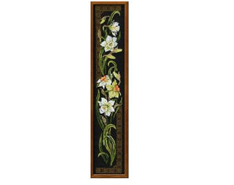 Finished counted cross stitch picture, cross stitch embroidery, tapestry, embroideries, needlework, narcissus, wall decor