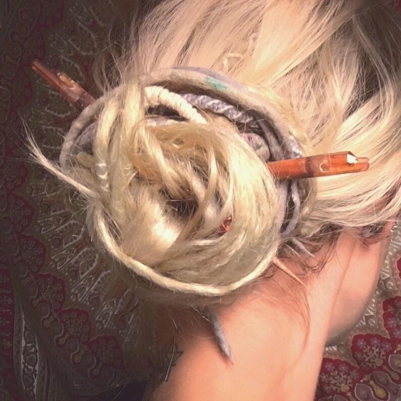 Amber Aura Quartz Hair Picks
