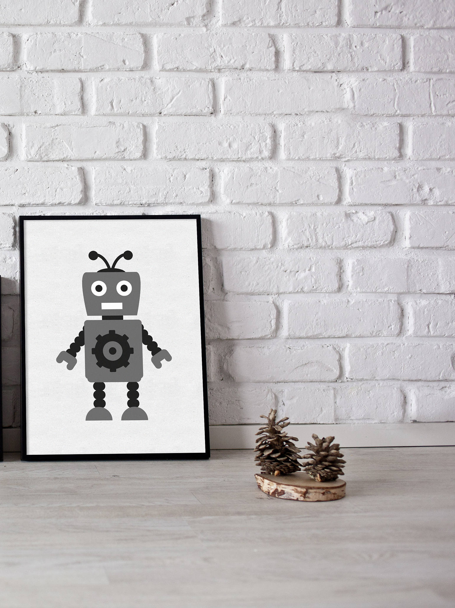 Robot Print Kids Wall Prints Kids Room Print Monochrome Etsy