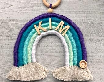 Mermaid Ombré Rainbow Wall Hanging - Macrame Rope Rainbow - Yarn Rainbow - Wall Decor - Nursery Decor  - Personalized Gift -  Baby Gift