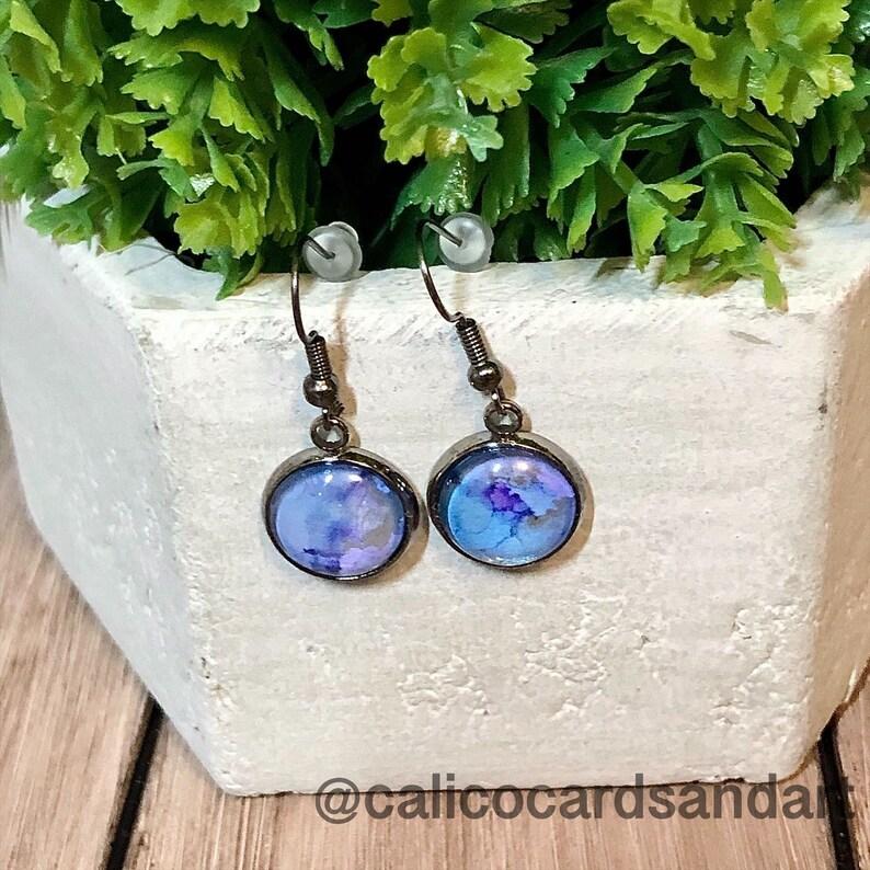 Alcohol Ink Original One of a kind Purple Blue Gun Metal Earrings Wearable Art Handmade Dangle Earrings