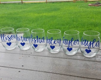 Set of 3- 21 oz. stemless wine glasses, bridesmaid gift, custom wine glasses