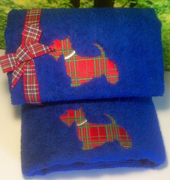Personalised And Embroidered Scottie Dog Towels Facecloths