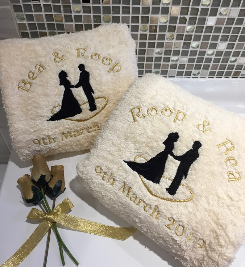 Wedding /& Anniversary Set Embroidered Hand and Bath Towels Personalised Towels
