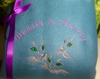 Embroidered and Personalised Cat Fleece Blanket