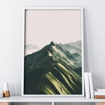 Pink Green Boho Chic Mountain Wall Art Instant Download| Nature Photography Digital Print| Mid Century Modern Art Poster| Rustic Home Decor