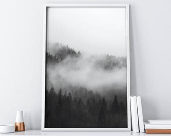 Scandinavian Forest Poster Digital Print| Minimalist Black and White Art| Tumblr Boho Rustic Wall Decor| Living Room Decor| Bedroom Decor