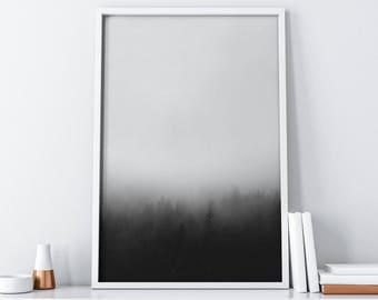 Misty Forest Printable Art  Black and White Art  Minimalist Poster Instant Download  Foggy Mountain Wall Art Digital Print  Rustic Decor