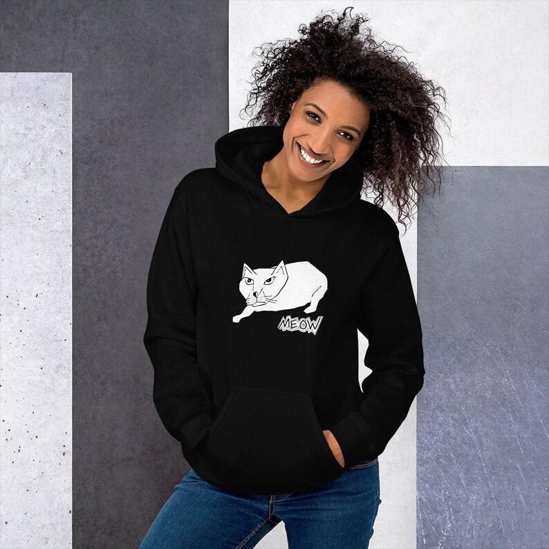 Mean Cat Meow  Hooded Sweatshirt image 0