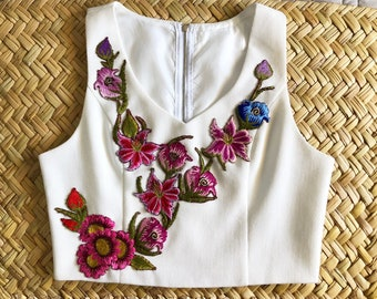 Embroidered mexican crop top