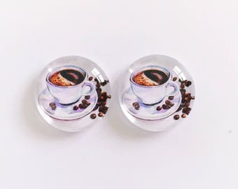 The 'Coffee Bean' Glass Earring Studs