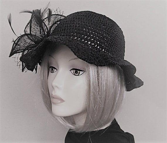 Black wedding hat black fascinator hats ornament in hair  75cbfd36d94