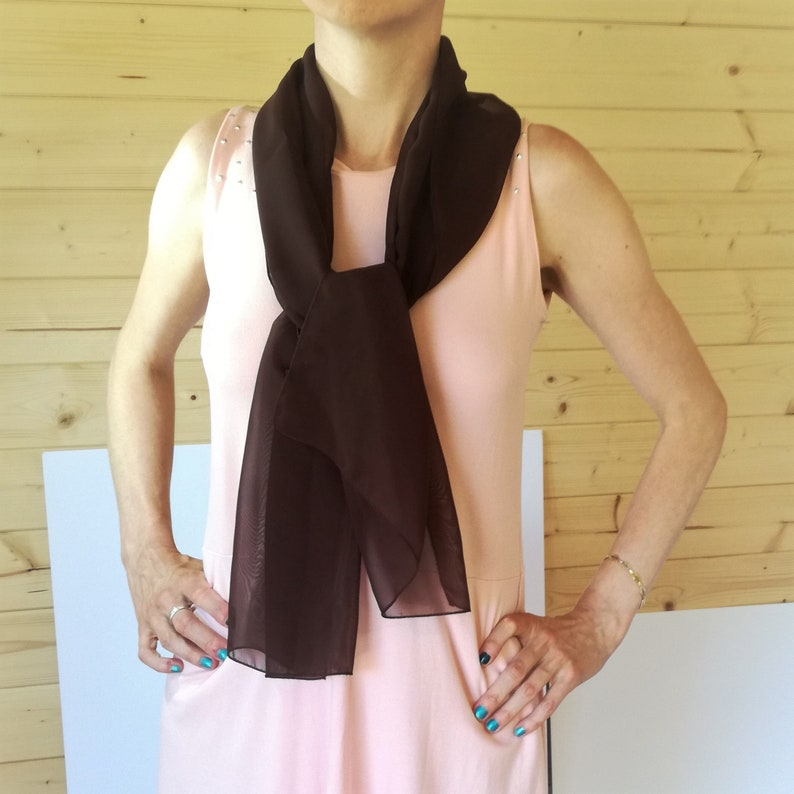 tulle small summer scarf Chiffon brown scarf