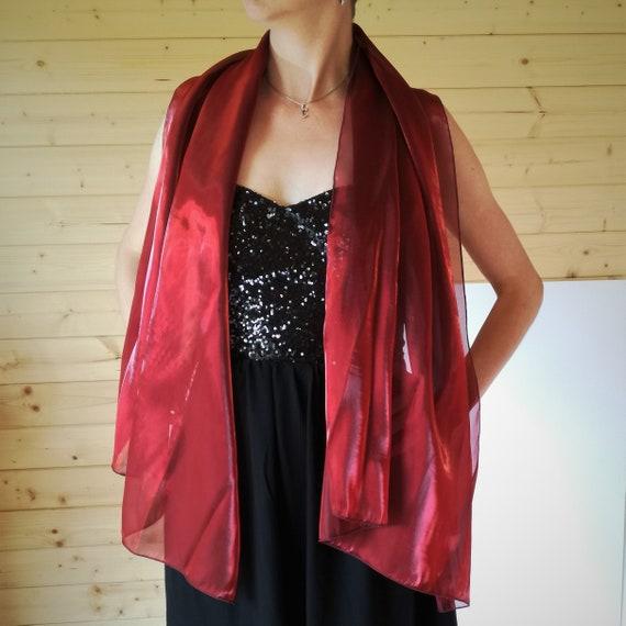 Femme Rouge en Mousseline de soie nuptiale soirée Soft Wrap écharpe châle