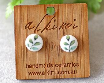 handmade earrings yellow studs Ceramic stud earrings clay studs chartreuse  splash ceramic earrings ceramic studs