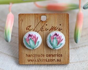 clay studs handmade studs handmade ceramics Mottled Rose stud Ceramic stud earring