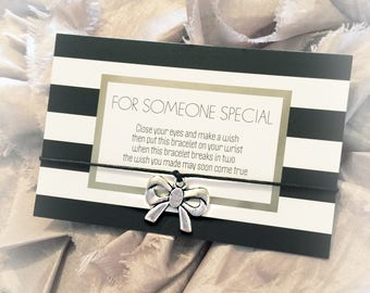 Wish Bracelet, bow charm, friendship bracelet