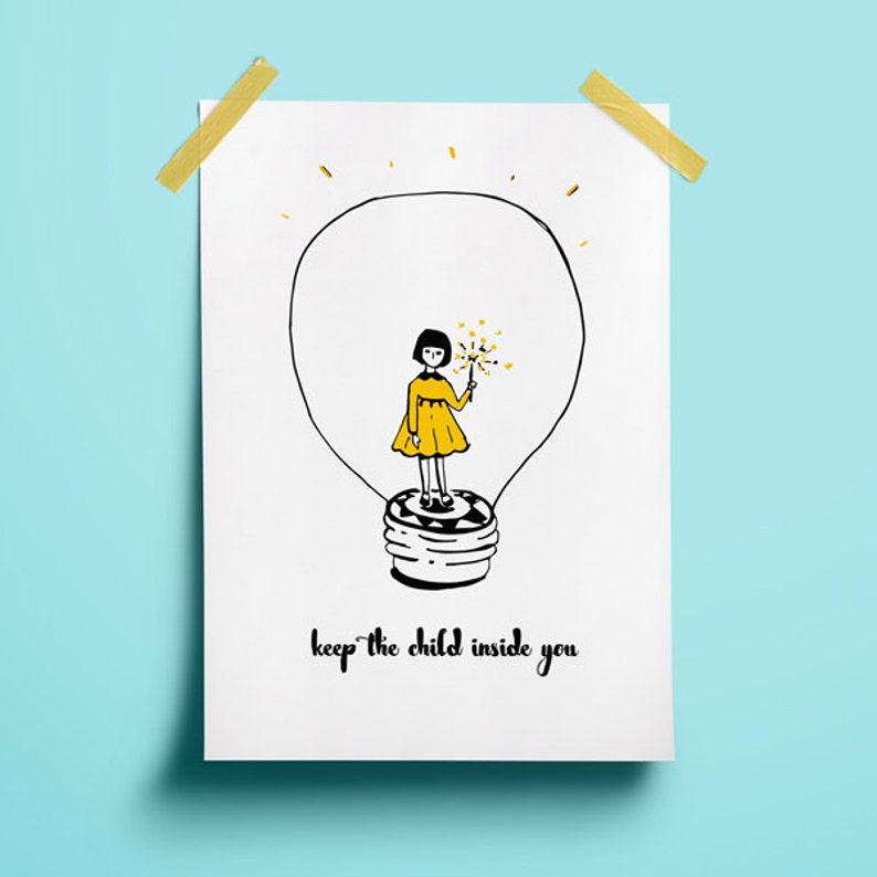 Nursery collectibles Yellow art decor Child poster decor image 1