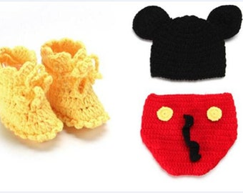 b50a62fa9e3 Crochet mickey mouse outfit newborn photo prop