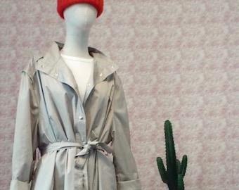 Lightweight fabric coat and oversized raincoat