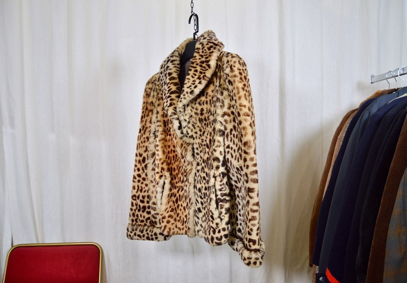 Short coat  leopard print sheep fur  woman size XXS