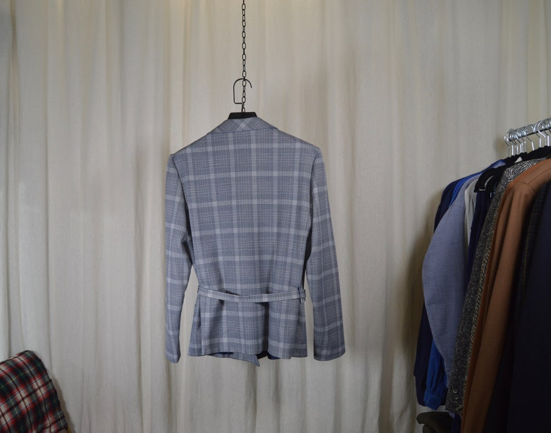 Cross jacket with belt soft fabrics patterns Princes of Wales  woman size L