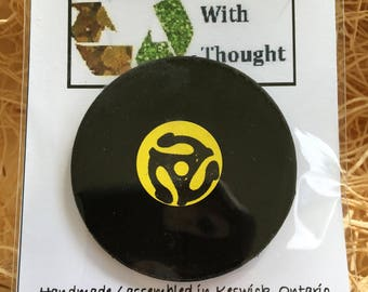 Re-purposed vinyl record fridge magnet