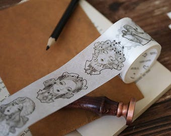 Art Nouveau Washi Tapes Collection XL 40mm | Vintage Design Masking Tape | Victorian Lady Washi Tapes Set | Gothic Magic Washi Masking Tapes