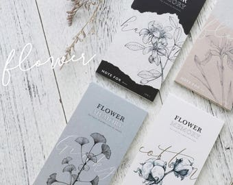 Flower Sketches Memo Pad Collection | Black and White Memo Notepad | Dried Flowers Sticky Notes Pack | Vintage Flower Sticky Notes|Memo Note