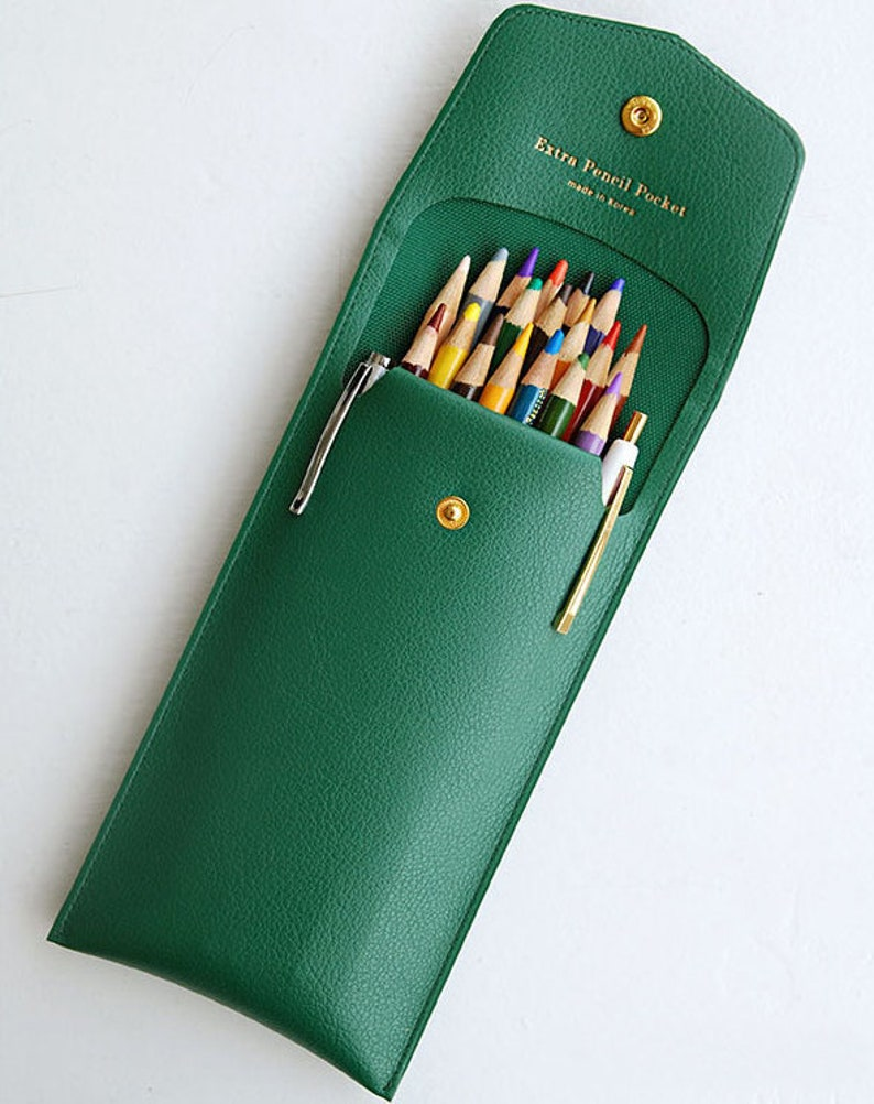 52852fa860 Extra Pocket Pencil Case 6 Colors Leather Pencil Case with | Etsy