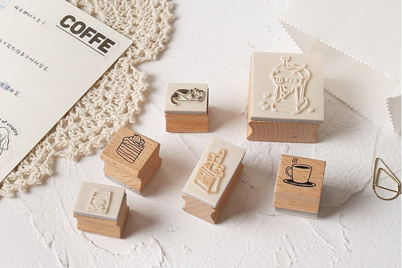 Notebook Stamp Scrapbook stamp Wood Rubber Seal Stylish stamp | Cafe stamp chop Coffee Shop Wooden Stamp Set Collection 13 pc