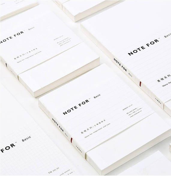 White Plain Notebook (Lined/Grid/Blank) / Semplice Notebook del Viaggiatore / Diario di copertina bianco / Minimalismo Semplice Planner / Designer sketchbook