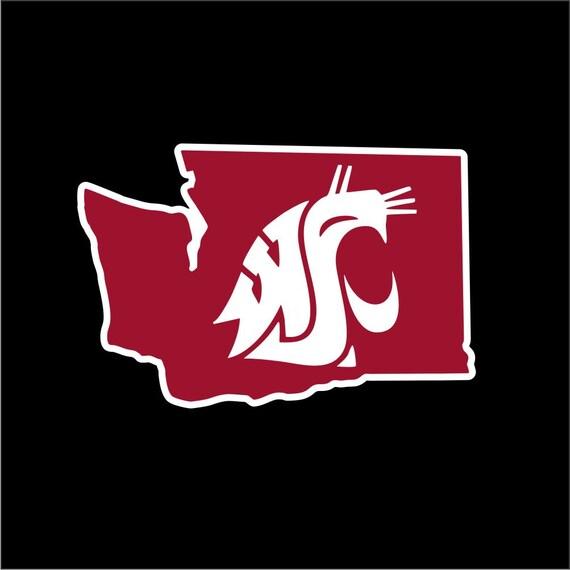 Wsu Cougars Car Window Sticker Crimson Etsy
