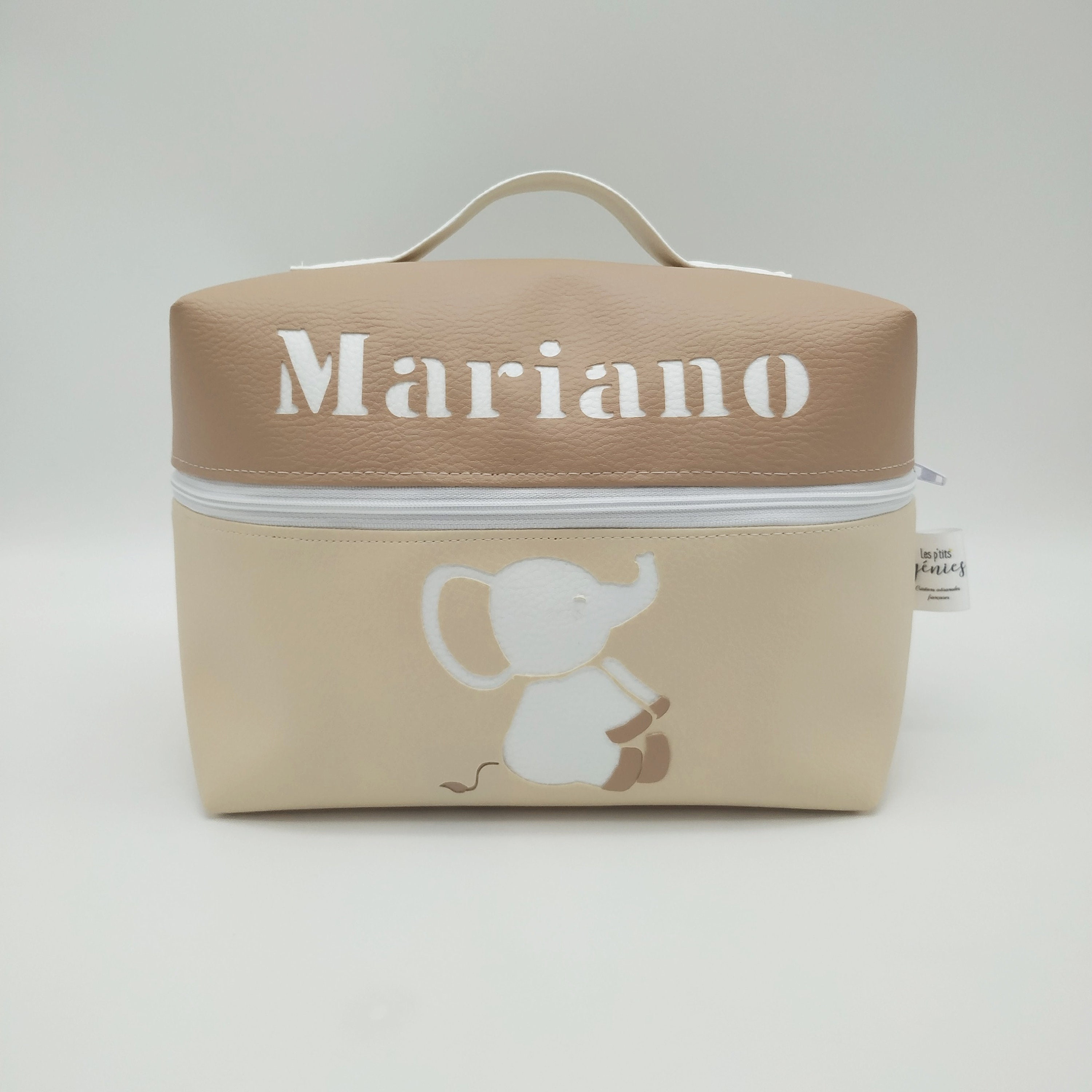 Vanity Elephant Light Beige And Dark Beige Customizable To Order Cotton And Faux Leather Child Toiletry Kit