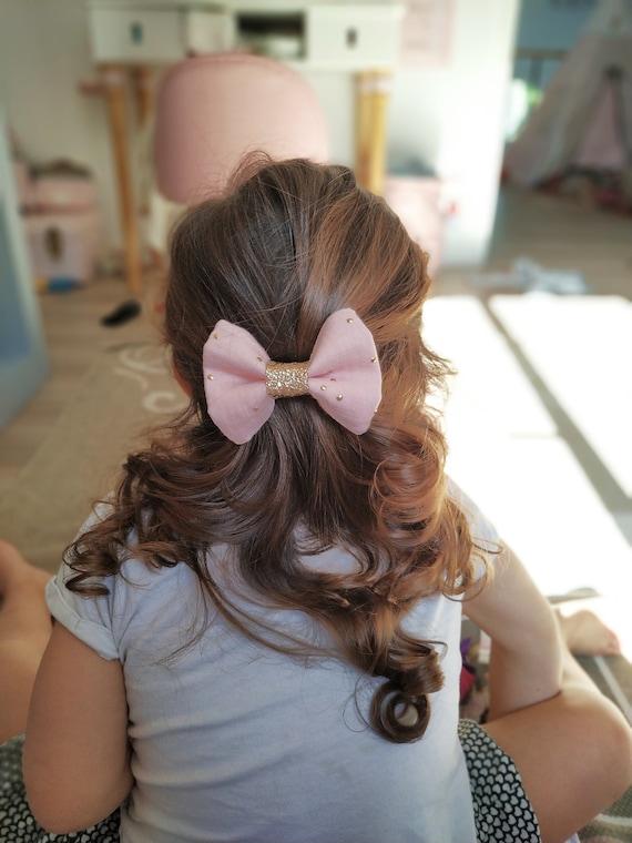 Personnalisé Bébé Rose Satin Hair Bow Paillettes Clip Nom Bandeau