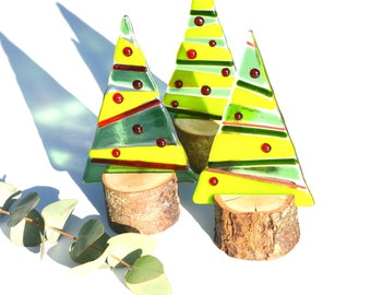 Fused Glass Christmas Tree on Trunk Stand