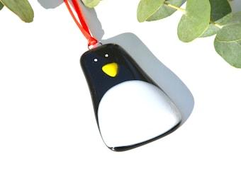 Fused Glass Penguin Christmas Tree Decoration