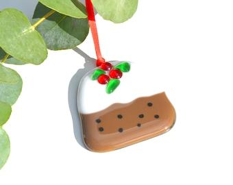 Christmas Pudding Fused Glass Tree Decoration