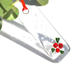 Holly Fused Glass Christmas Tree Decoration