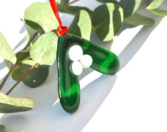 Mistletoe Fused Glass Christmas Tree Decoration