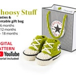 Crochet High Top Booties pattern, 3-18 months with printable gift bag.