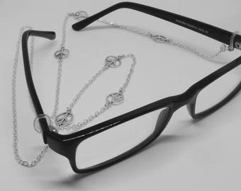 8747b3defdd3 Peace Charm Eyeglass Chain glasses lanyard spectacle holder silver plate reading  glasses necklace eyewear accessory cwtchus