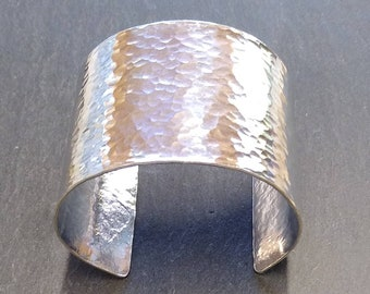 Hammered Silver Cuff Bangle ~ Boudicca ~ Hand hammered, shaped and polished aluminium ~ statement piece ~ 50mm deep ~ warrior ~ cwtchusstore