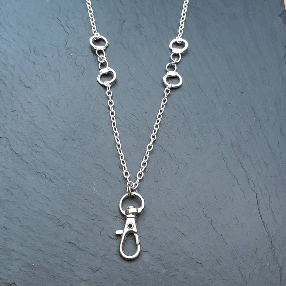Handcuff Lanyard ~ Silver Handcuff Charms ~ Silver Plate Chain ID Card Holder ~ Lanyard Necklace ~ CWtChUSstore ~ Restraint