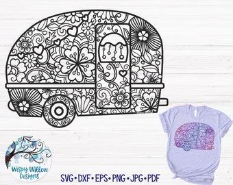 trees bonfire marshmallows print 5th wheel gifts Adventure time Mandala svg Fifth wheel camper svg Camper truck pulling Travel gift