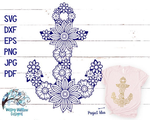 Floral Anchor Svg Dxf Png Eps Mandala Anchor Zentangle Etsy
