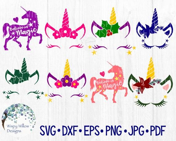 Unicorn Bundle Svg Dxf Png Jpg Eps Believe In Magic Etsy