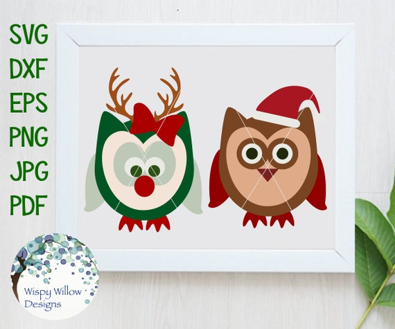 Christmas Owls Svg Dxf Pdf Png Jpg Eps Digital Download Etsy